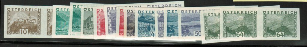 Lot #44 Austria: Scott#: 340-53 Michel 530 U – 543 U ** VF horizontal imperforate pairs cat 3400 Euro
