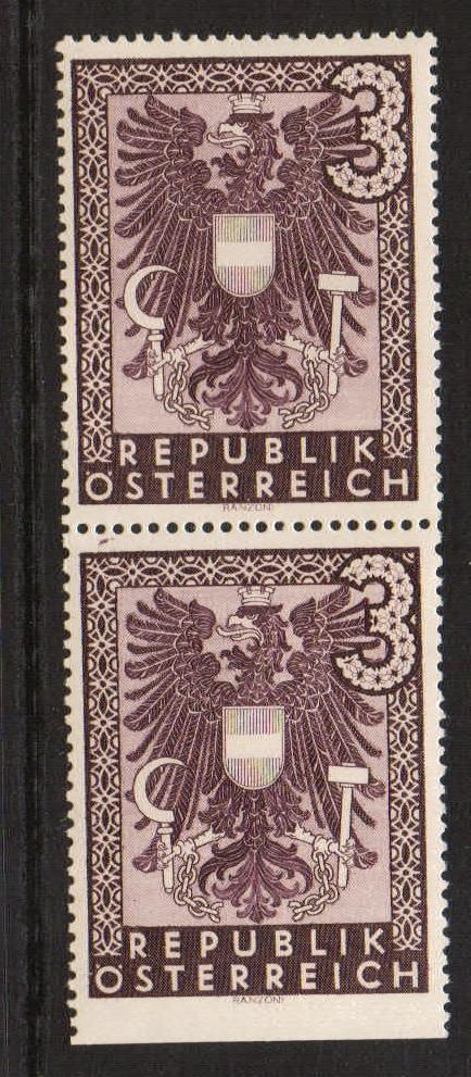 Lot #13 Austria Michel 735 Uu ** VF lower stamp imperforate at bottom