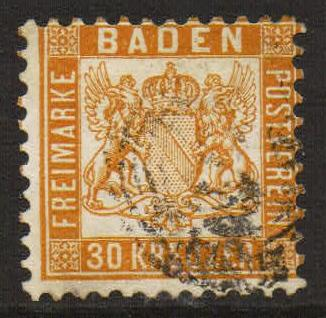 Lot# 7 Baden 25a (MI 22a) used heavy cancel Fine expertized