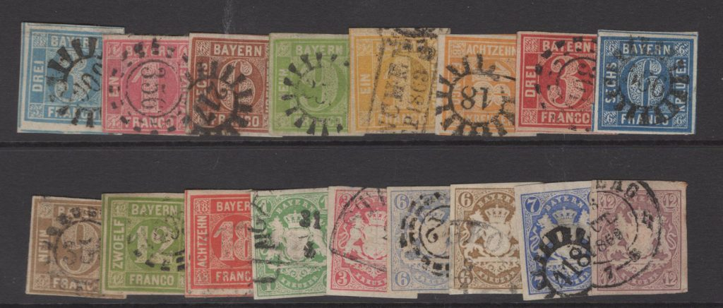 Lot # 49 Bavaria imperforate early issues – all F/VF catalog value 650+